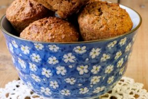 BRAN MUFFINS IN BLUE BOWL