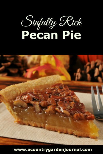 SINFULLY RICH PECAN PIE, A COUNTRY GARDEN JOURNAL