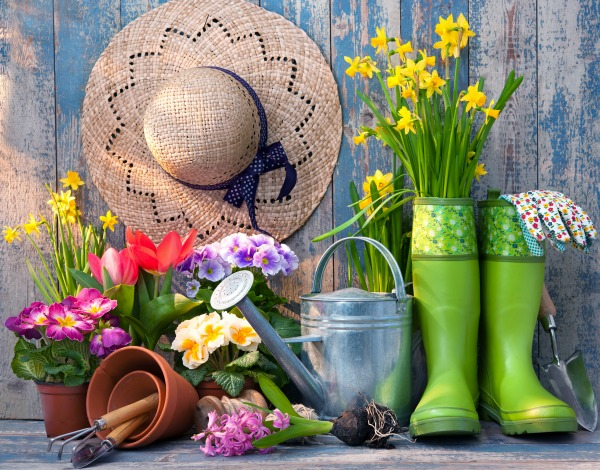 GARDEN TOOLS, BOOTS, SUNHAT, AND FLOWERS