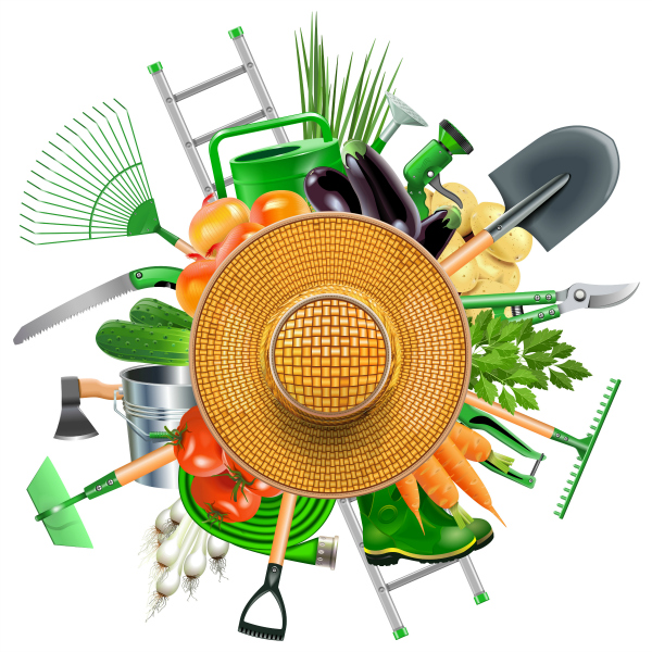 Garden Tools, Sunhat, and Vegetables