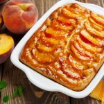 RICH AND MOIST GLAZED PEACH COBBLER